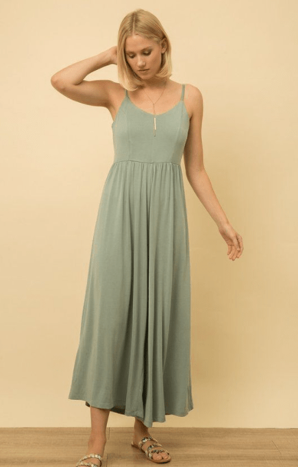 Mystree sand washed wide leg jumpsuit - MINT