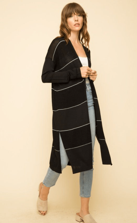 Mystree stripe detail open front cardigan - BLACK