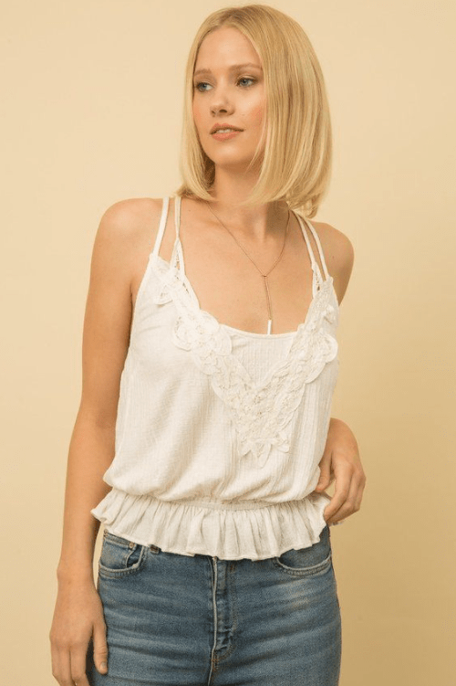 Mystree crochet lace plunging neck tank - off white