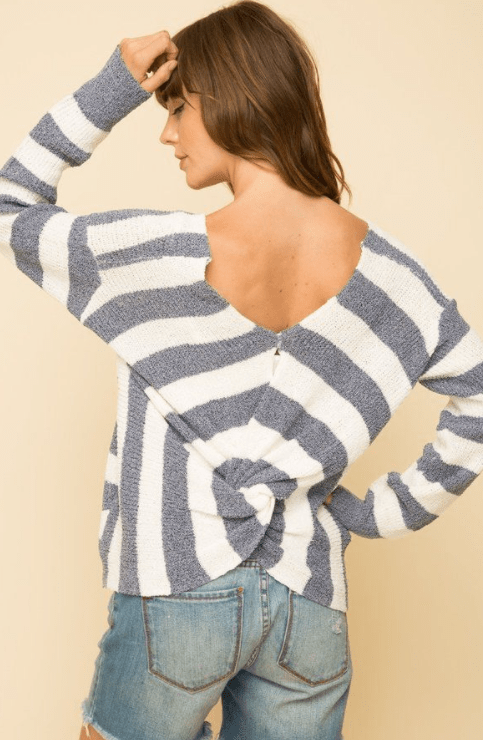 Mystree knot back stripe sweater