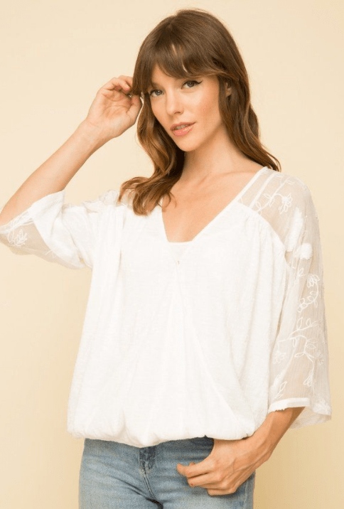 Mystree Mix media wrap top - white