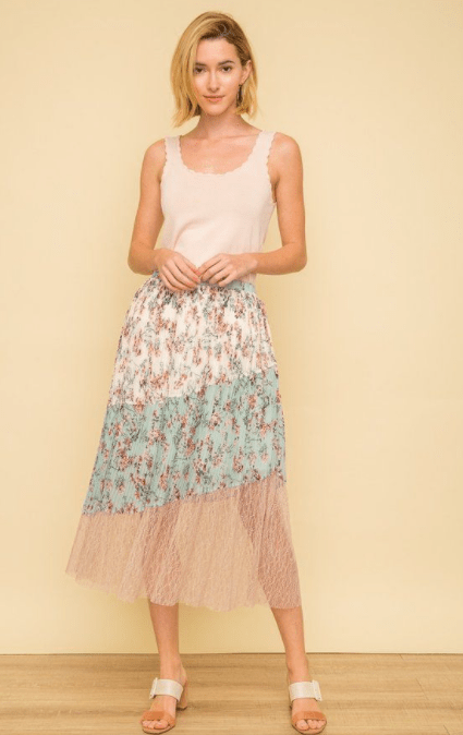 Mystree floral print and lace pleated skirt