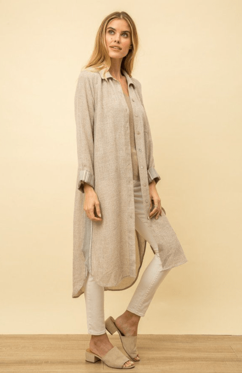 Mystree light taupe button down maxi shirt jacket