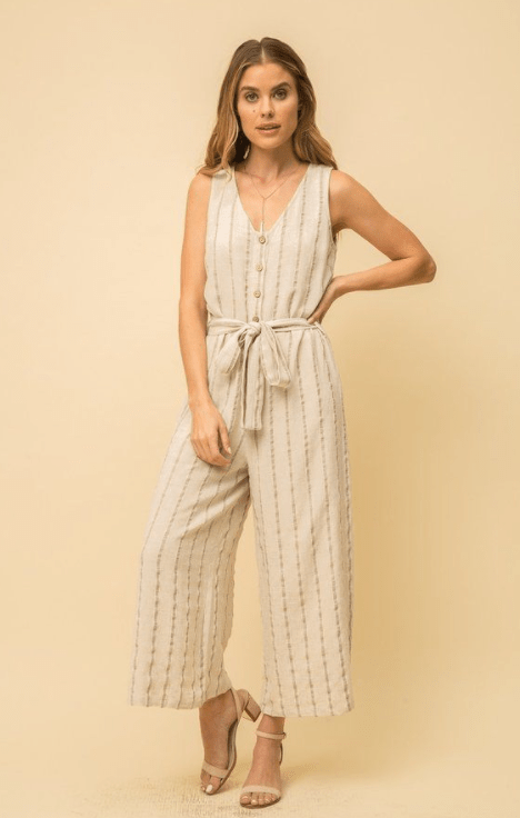 Mystree linen blended belted jumpsuit