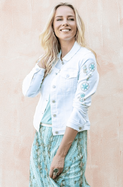 Esqualo white embroidered jean jacket