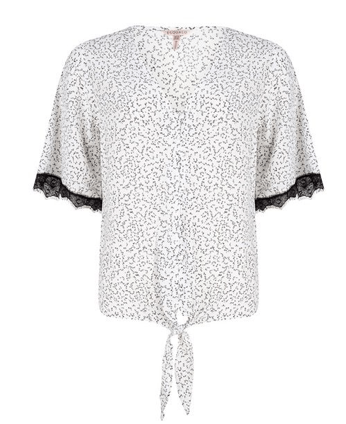 Esqualo mini print knot blouse
