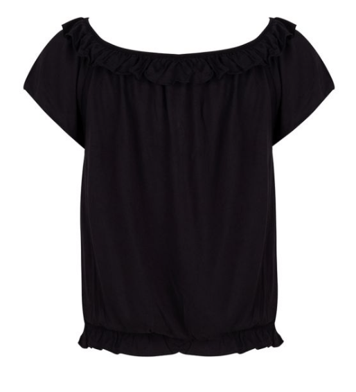 Esqualo top cropped ruffle - black