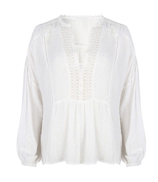 Esqualo boho off white plumetis blouse