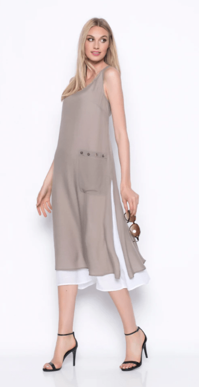 Picadilly Sleeveless Long Dress With Side Pocket