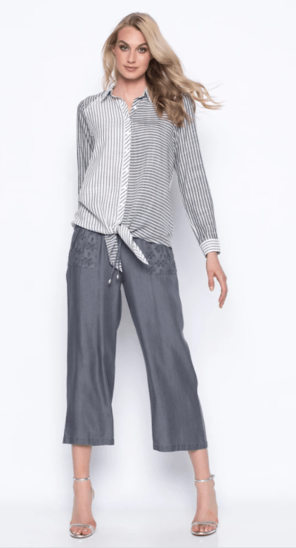 Picadilly wide leg cropped pants with patch pockets-grey mist