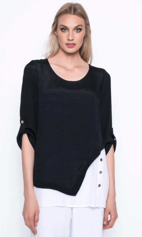 Picadilly ¾ Sleeve Asymmetrical Top - black & white