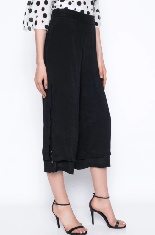 Picadilly Layered Cropped Pants With Buttons- BLACK