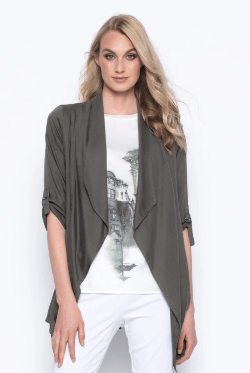 Picadilly Tencel Draped Collar Open-Front Jacket - olive