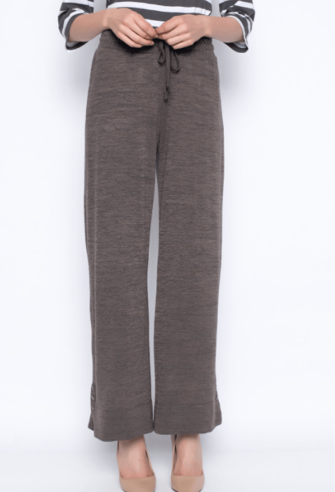 Picadilly Pull-On Drawstring Wide-Leg Pant- Earth