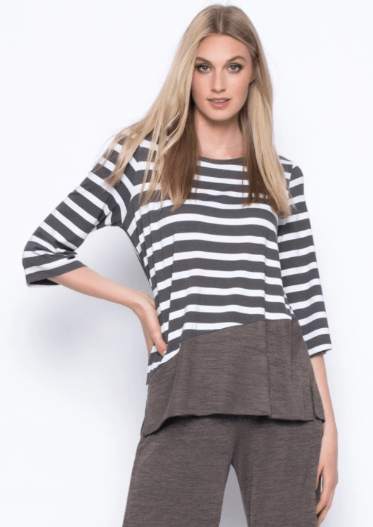 Picadilly ¾ Sleeve Solid Trim Stripe Top