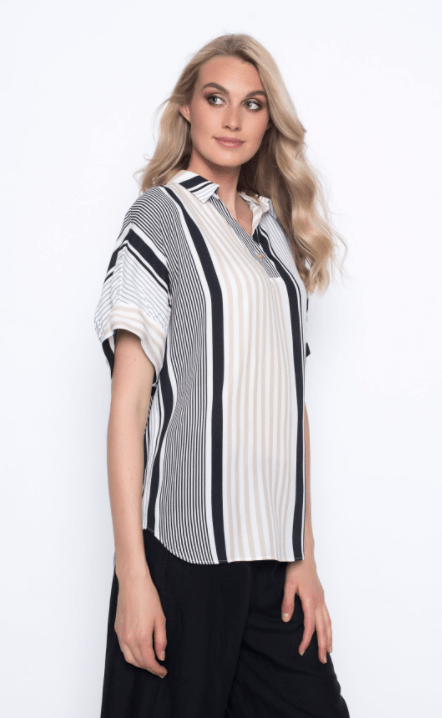 Picadilly  Stripe Collar Top