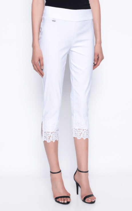 Picadilly Lace Trim Capri Pants - White