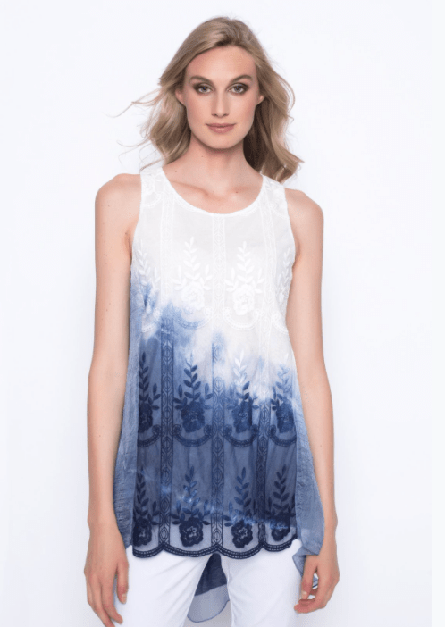 Picadilly Ombre Embellished Chiffon Overlay Tank- deep navy