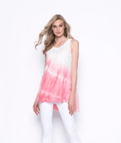 Picadilly Ombre Embellished Chiffon Overlay Tank - Coral
