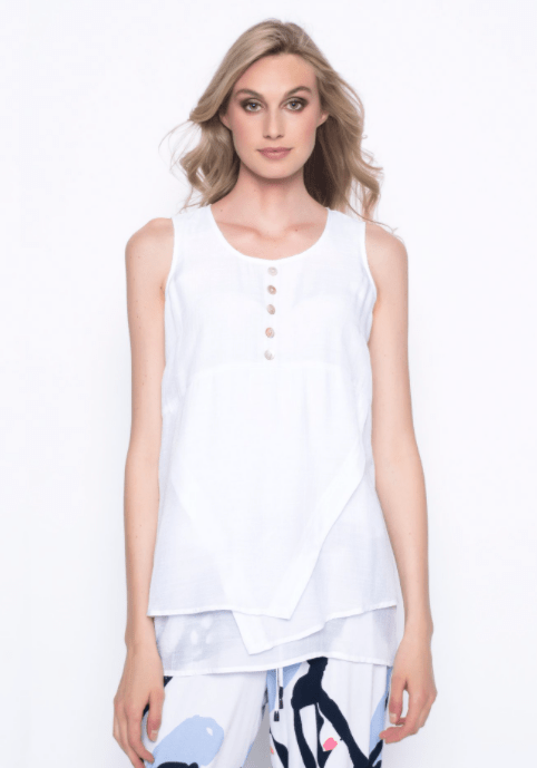 Picadilly Tank With Button Detail - white