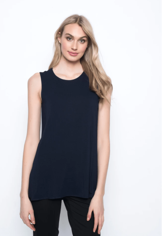 Picadilly Curved Hem Tank Top - Deep Navy