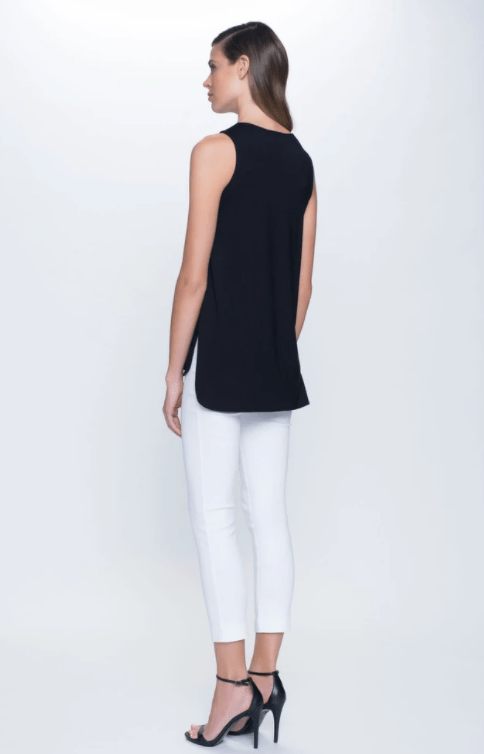Picadilly Curved Hem Tank Top - White