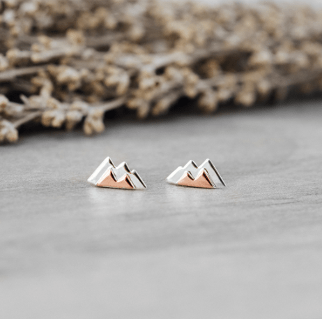 Mountain Studs - silver/rose gold