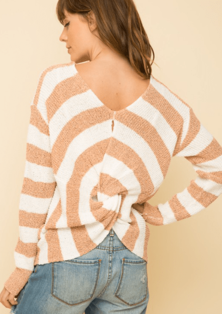 Mystree knot back stripe pullover sweater Peach