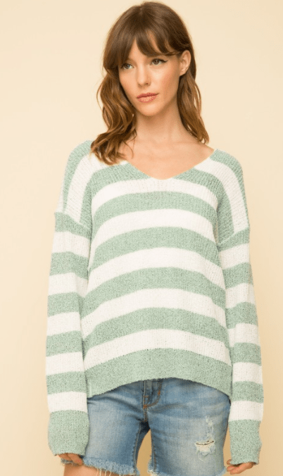 Mystree knot back stripe sweater - mint