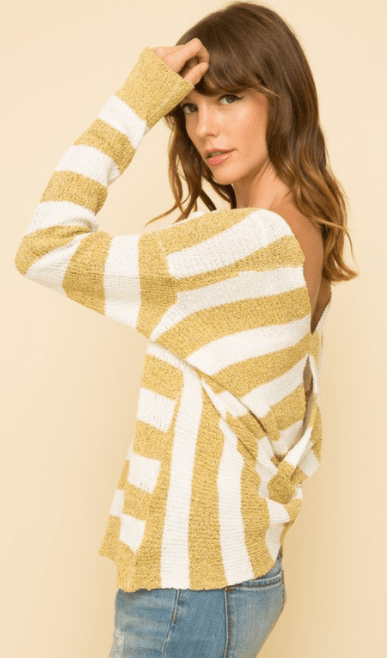 Mystree knot back stripe sweater - mustard