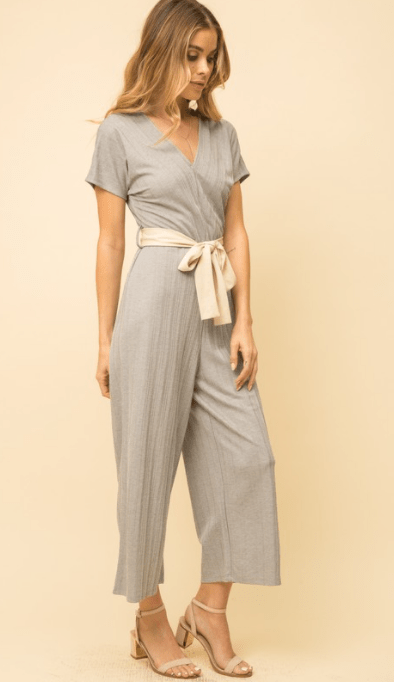 Mystree V Neck Herringbone pattern Jumpsuit