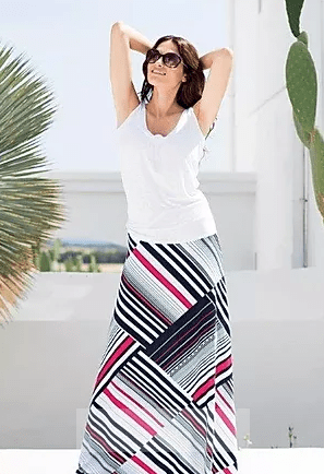 Marble Stripe Maxi Skirt Black/White/Red