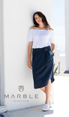 Marble Tencel Skirt W/ Button Detail - Blue
