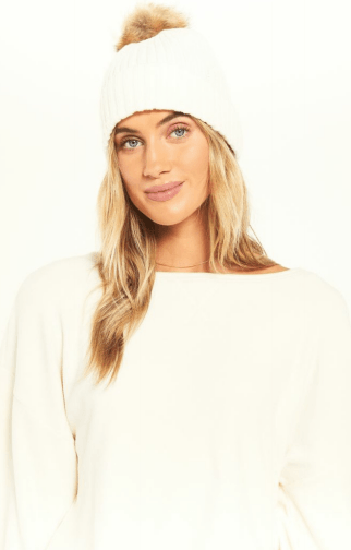 Z Supply cozy rib pom beanie - vanilla ice