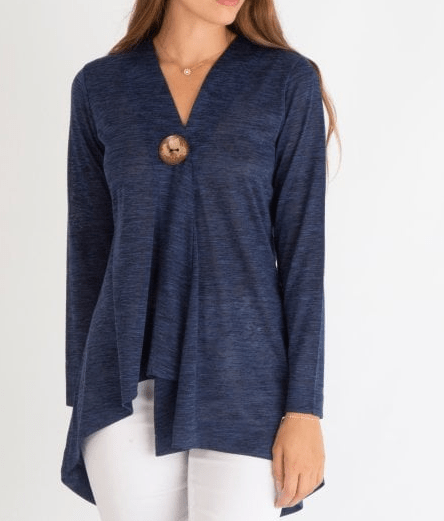 Marble navy one button light weight cardigan