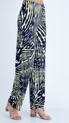 Marble Abstract Print Jersey Stretch Trousers Navy/Lime