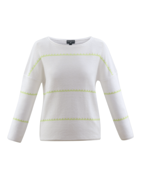 Marble Sweater - White W/ Lime Stripe