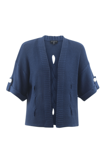 Marble turn cuff cardigan - denim