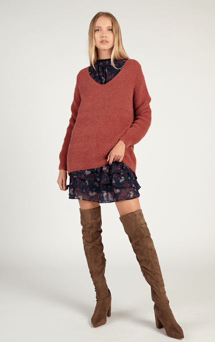 Sadie & Sage Celine cable back sweater - rose