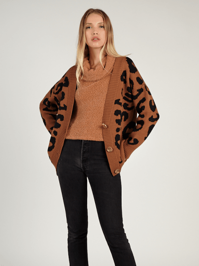 Sadie & Sage Hunter Leopard Cardigan - camel/black