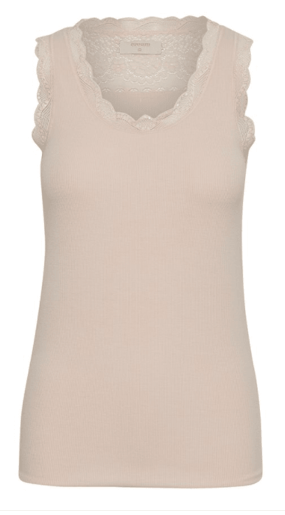 Cream Vanessa top w/ lace detail