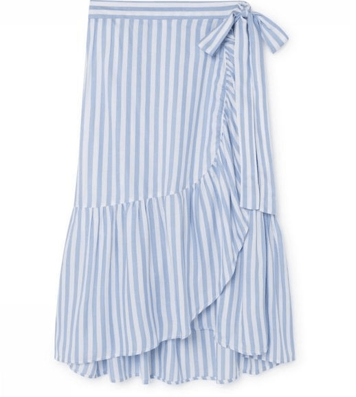 Designers Society Blue/White Striped Ruffled Wrap Skirt