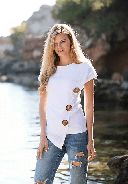 Marble over sized buttons top - White