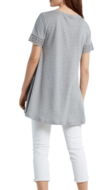 White Stuff Dove Grey Flossie Stripe Jersey Tunic