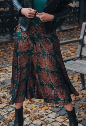 Esqualo skirt fern print teal