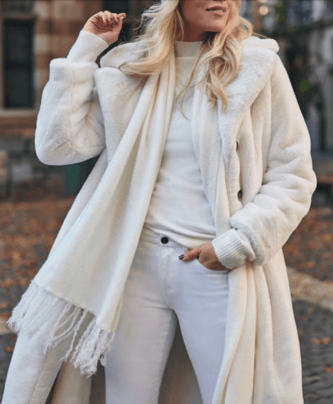 Esqualo long coat faux fur off white