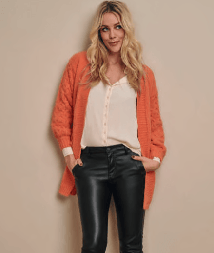 Esqualo cardigan with 3D sleeve - orange