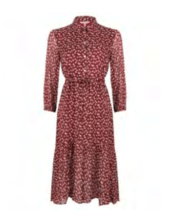 Esqualo burgundy dress tunnel heart print