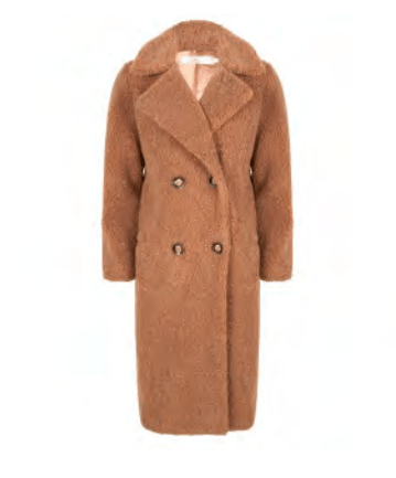 Esqualo long coat boucle cinnamon