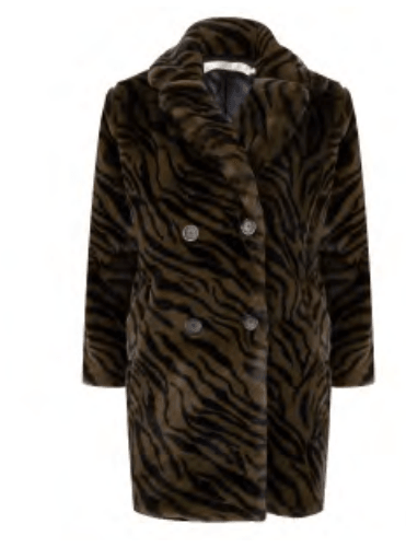 Esqualo long faux fur coat zebra print